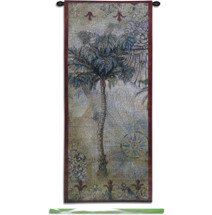 Masoala Panel Ii By Jill O'Flannery | Woven Tapestry Wall Art Hanging | Palm Trees With Colonial Seal West Indies Tropical Themed Artwork | 100% Cotton USA 53X22 Wall Tapestry