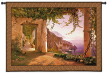 Amalfi Dia Cappuccini by Carl Frederik Aagaard | Woven Tapestry Wall Art Hanging | Sunset Coastline View | 100% Cotton USA Size 78X53 Wall Tapestry