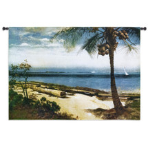 Tropical Coast | Woven Tapestry Wall Art Hanging | Seaside Island Coconut Tree with Sailboats | 100% Cotton USA Size 53x37 Wall Tapestry