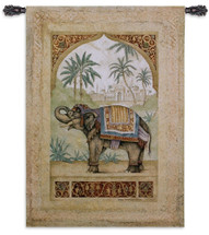 Old World Elephant I Trunk Down by Debra Swartzendruber | Woven Tapestry Wall Art Hanging | Regal Indian Elephant among Palms | 100% Cotton USA Size 52x36 Wall Tapestry