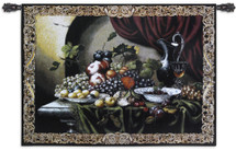 Vintage Still Life By Riccardo Bianchi - Woven Tapestry Wall Art Hanging - Still Life Colorful Grapes Figs Fruit Wine Classic Decor - 100% Cotton - USA Wall Tapestry