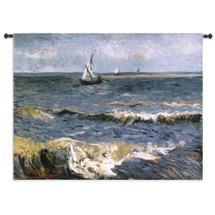 The Sea At Les Saintes Maries De La Mer by Van Gogh -Woven Tapestry Wall Art Hanging for Home & Office Decor- Impressionistic Mediterranean Fishing Village Masterpiece 100% Cotton-USA 41X53 Wall Tapestry