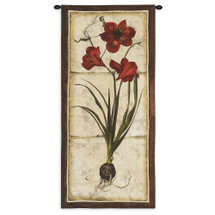 Red Tulip Study I - Woven Tapestry Wall Art Hanging - Crimson Tulip Plant Aged Natural Background Floral Study Botanical Vertical Drawing - 100% Cotton - USA 55x26 Wall Tapestry