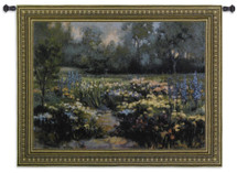 Delphinium by Jennie Tamao | Woven Tapestry Wall Art Hanging | Lush Impressionist Garden Landscape | 100% Cotton USA Size 53x40 Wall Tapestry