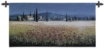 Tuscan Pan Poppies | Woven Tapestry Wall Art Hanging | Poppies with Indigo Sky Tuscan Landscape Panorama | 100% Cotton USA Size 53x26 Wall Tapestry