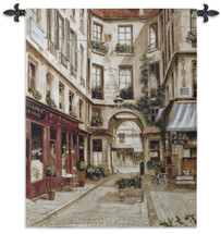 Promenade a Paris I by Fabrice de Villeneuve   Woven Tapestry Wall Art Hanging   Store Lined Parisian Alley Courtyard   100% Cotton USA Size 53x40 Wall Tapestry