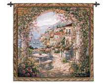 Seaview Ii - Woven Tapestry Wall Art Hanging for Home & Office Decor - Cobblestone Patio Set and Stunning Ocean View With Vase Blooms and Scrollwork Themes-100% Cotton-USA Wall Tapestry