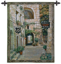 Italian Country Village II by Roger Duvall   Woven Tapestry Wall Art Hanging   Vintage Italian Cobblestone Alley with Candy and Drug Stores   100% Cotton USA Size 53x42 Wall Tapestry