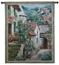 Italian Country Village I by Roger Duvall   Woven Tapestry Wall Art Hanging   Vintage Italian Cobblestone Alley with Hotel   100% Cotton USA Size 53x42 Wall Tapestry
