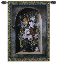 Flowers of Harmony | Woven Tapestry Wall Art Hanging | Large Floral Bouquet Urn Still Life on Stone Ledge | 100% Cotton USA Size 76x53 Wall Tapestry