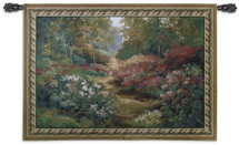 Fine Art Tapestries Along The Garden Path Hand Finished European Style Jacquard Woven Wall Tapestry  USA Size 43x53 Wall Tapestry