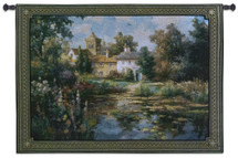 Summer Escape By Vail Oxley - Woven Tapestry Wall Art Hanging For Home Living Room & Office Decor - Peaceful Flower Filled Pond Lies In Front Of A Stately English Manor- 100% Cotton - USA Wall Tapestry