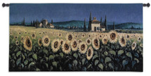 Tuscan Pan Sunflower - Woven Tapestry Wall Art Hanging For Home Living Room & Office Decor - Landscape Wide Field Sunny Yellow Flowers Mountains Traditional Tuscan Toscana Panorama - 100% Cotton - USA 26X53 Wall Tapestry