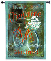 Chez Valerie by Fabrice de Villeneuve | Woven Tapestry Wall Art Hanging | Vintage Advertisement Flower Shop Bike Poster Artwork | 100% Cotton USA Size 53x37 Wall Tapestry