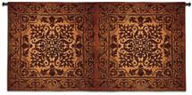 Double Iron Work Horizontal - Woven Tapestry Wall Art Hanging - Bronze Gold Metallic Damask Pattern Metal Filigree Iron Wall Panels - 100% Cotton - USA 53X105 Wall Tapestry