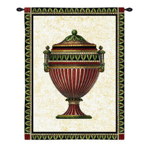 Empire Urn II | Woven Tapestry Wall Art Hanging | Elegant Patterned Vase Still Life in Soft Colors | 100% Cotton USA Size 34x27 Wall Tapestry