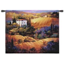 Evening Glow by Nancy O'Toole | Woven Tapestry Wall Art Hanging | Colorful Tuscan Countryside Sunset | 100% Cotton USA Size 53x53 Wall Tapestry