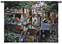 Rooftops Ii By Michael O'Toole - Woven Tapestry Wall Art Hanging - European Home Rooftops In Bright Tiled Cityscape - 100% Cotton - USA 39X53 Wall Tapestry