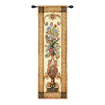 Edens Botanical Ii - Stunning Floral Bouquet Housed In A Decorative Urn And Set Upon A Golden Table - Woven Tapestry Wall Art Hanging For Home Living Room & Office Decor - 100% Cotton - USA 53X22 Wall Tapestry