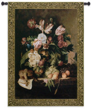 Musical Bouquet by Riccardo Bianchi | Woven Tapestry Wall Art Hanging | Blooming Floral Centerpiece with Violin and Sheet Music Still Life | 100% Cotton USA Size 76x53 Wall Tapestry