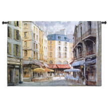 Les Parasols by George W. Bates | Woven Tapestry Wall Art Hanging | Paris France Street Scene and café | Pastel Watercolors Turned Textile | 100% Cotton USA Size 53x53 Wall Tapestry