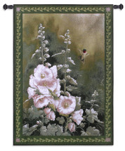 Hollyhock Hummer by Catherine McClung | Woven Tapestry Wall Art Hanging | Hummingbird at Blooming Flowers on Soft Green | 100% Cotton USA Size 53x38 Wall Tapestry