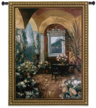 The Veranda | Woven Tapestry Wall Art Hanging | Arched Ceilings Classic Stone Floral Balcony | 100% Cotton USA Size 76x53 Wall Tapestry