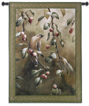 Cherry Chase by Catherine McClung | Woven Tapestry Wall Art Hanging | Romantic Bird Perched on Cherry Tree | 100% Cotton USA Size 53x38 Wall Tapestry