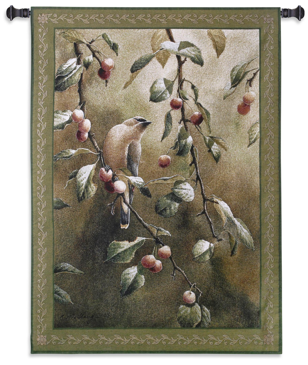 Cherry Chase By Catherine Mcclung Woven Tapestry Wall Art Hanging Romantic Bird Perched On Cherry Tree 100 Cotton Usa Size 53x38