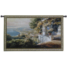 Balcony | Woven Tapestry Wall Art Hanging | Impressionist Stone Terrace Coastal View | 100% Cotton USA Size 53x30 Wall Tapestry