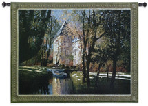 Chateau d'Annecy   Woven Tapestry Wall Art Hanging   Lavish Estate Secluded Water Inlet   100% Cotton USA Size 53x40 Wall Tapestry