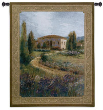 Morning In Spain - Woven Tapestry Wall Art Hanging - Winding Path Lavender Meadow Traditional Spanish Villa European Landscape Artwork - 100% Cotton - USA 53X40 Wall Tapestry