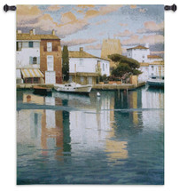 Harbor at Morning Light | Woven Tapestry Wall Art Hanging | Calm Reflective Water at City Port | 100% Cotton USA Size 53x44 Wall Tapestry