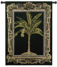 Masterpiece Palm II | Woven Tapestry Wall Art Hanging | Banana Palm on Black with Elaborate Border | 100% Cotton USA Size 53x38 Wall Tapestry
