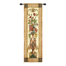 Edens Botanical I | Woven Tapestry Wall Art Hanging | Decorative Urn Housing Floral Bouquet | 100% Cotton USA Size 53x22 Wall Tapestry