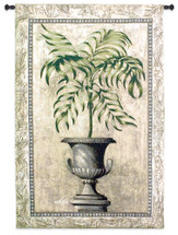 Southern Exposure II by Welby | Woven Tapestry Wall Art Hanging | Elegant Tropical Plant in Stone Vase Still Life | 100% Cotton USA Size 53x35 Wall Tapestry