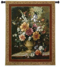 Nature'S Glory Iv by Albert Williams - Woven Tapestry Wall Art Hanging for Home & Office Decor - Floral Centerpiece Large Blooms Decorative Golden Urn Vase Still Life - 100% Cotton - USA Wall Tapestry