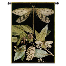 Whimsical Dragonfly I - Woven Tapestry Wall Art Hanging For Home Living Room & Office Decor - Companion Dragonflies Damselflies Tropical Leaves - 100% Cotton - USA 53X38 Wall Tapestry