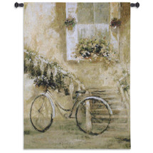 Courtyard Bicycle | Woven Tapestry Wall Art Hanging | Impressionist Blooming Staircase Scene | 100% Cotton USA Size 53x38 Wall Tapestry