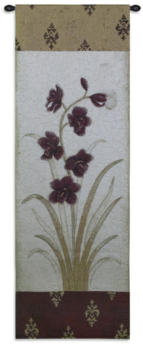 Kimono Orchid Plum Ii - Woven Tapestry Wall Art Hanging For Home Living Room & Office Decor - Orchids Damask Asian Plum Japanese Artwork - 100% Cotton - USA 75X26 Wall Tapestry