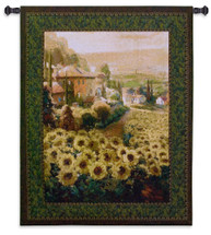 Fields of Gold | Woven Tapestry Wall Art Hanging | Impressionist Sunflowers on European Village Countryside | 100% Cotton USA Size 53x45 Wall Tapestry