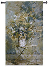 From the Garden I | Woven Tapestry Wall Art Hanging | Summer Wildflower Bouquet on Folding Chair | 100% Cotton USA Size 53x32 Wall Tapestry