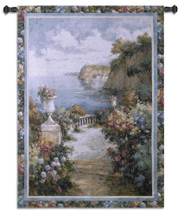 Tranquil Overlook by James Reed | Woven Tapestry Wall Art Hanging | Intriguing Floral Walkway to Lush Seascape View | 100% Cotton USA Size 52x37 Wall Tapestry