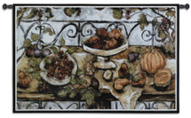 Harvest Table | Woven Tapestry Wall Art Hanging | Contemporary Fall Fruit Still Life | 100% Cotton USA Size 53x38 Wall Tapestry