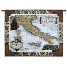 Italian Wine Country - Woven Tapestry Wall Art Hanging - Terrano Dell Italia Wine Regions Italy Toned Map  - 100% Cotton - USA 42X53 Wall Tapestry