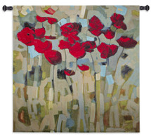 Splash Of Delight by Jennifer Harwood | Woven Tapestry Wall Art Hanging | Abstract Vibrant Roses on Calm Neutral Background | 100% Cotton USA Size 30x30 Wall Tapestry
