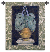 Tropical Urn I | Woven Tapestry Wall Art Hanging | Terracotta Urn Still Life on Stone Column | 100% Cotton USA Size 66x52 Wall Tapestry