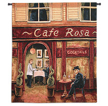 Cafe Rosa by Will Rafuse | Woven Tapestry Wall Art Hanging | Impressionist European Restaurant Nightime Scene | 100% Cotton USA Size 53x53 Wall Tapestry