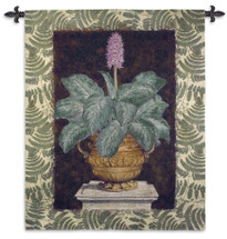 Tropical Urn II | Woven Tapestry Wall Art Hanging | Terracotta Urn Still Life on Stone Column | 100% Cotton USA Size 66x52 Wall Tapestry
