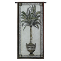 Old World Palm II | Woven Tapestry Wall Art Hanging | Tropical Tree in Ornate Decorative Urn | 100% Cotton USA Size 50x24 Wall Tapestry